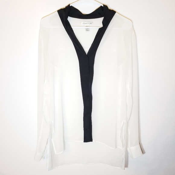 Kenneth Cole Sheer Black and White long blouse